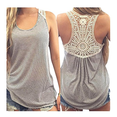bc0924d024a3f Gillberry Women Summer Lace Vest Top Short Sleeve Blouse Casual Tank Top T- Shirt XXL