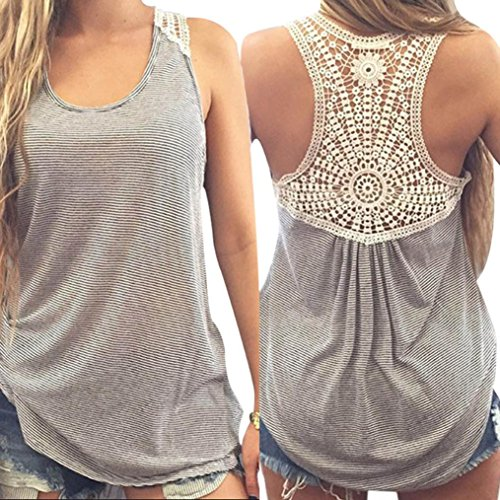 5754bcccc1c75 Gillberry Women Summer Lace Vest Top Short Sleeve Blouse Casual Tank Top T- Shirt M
