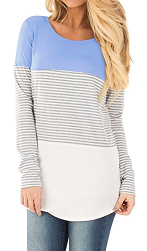 afd7df476cf Womens Tops Casual Long Sleeve Cotton Color Block Striped T Shirt Tunic  Blouse By Gemijack. Material  cotton blend♥This Coat is suitable for thin  people to ...