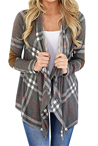 9e803c41485 Women s plaid cardigan sweater patchwork Shawl Collar Long Sleeve Loose  Knitwear Casual Autumn Shirt Open Front Tops. Designs o neck