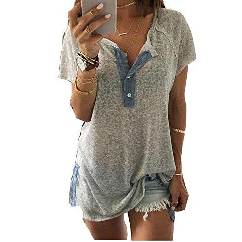 7ea07515e96 Ankola Clearance Women Loose Short Sleeve Button Tops Casual Blouse Henley Tunic  Shirts Gray