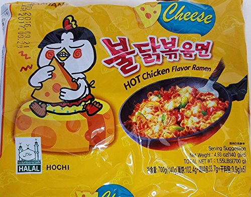 Samyang spicy fried chicken ramen cheese Flavor 10 packs of samyang ramen: 5pk of each Samyang 2x Spicy & Mala known as 4x. Extremely spicy.